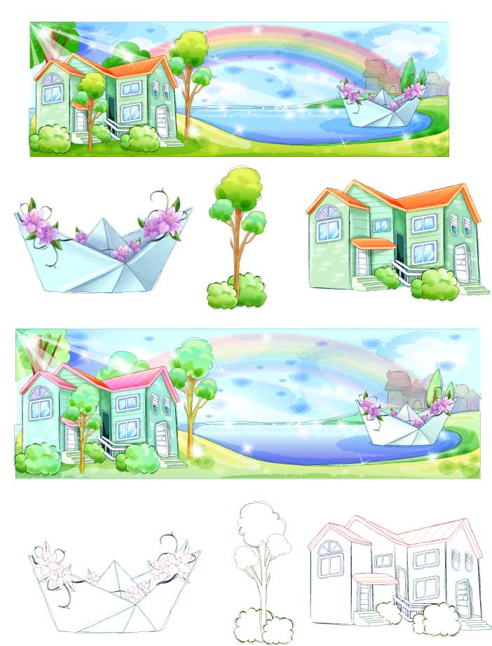 free vector Summer style handdrawn style vector series 5